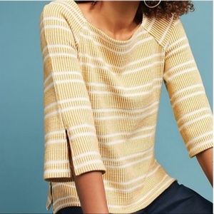 Postmark Anthro Mustard Striped Boatneck Top Small